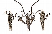(3) PENDANT/BROOCHES - Collection of (3) Native American Crafted Silver Pendant Brooches by Navajo Maker Dee Morris, all with impressed maker's mark, including: (2) figural pieces with engraved title
