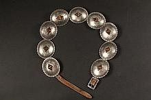 OLD SILVER CONCHO BELT - Original Narrow Leather Belt with Nine Vintage Conchos having scalloped and engraved edges, 3