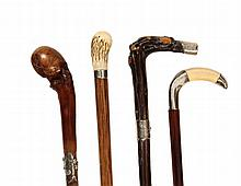 (4) VINTAGE WALKING STICKS - All Sterling Mounted, two English, two American, including: Masonic Crooked Butternut engraved