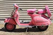 ITALIAN MOTOR SCOOTER - Original 1957-58 Rose Pink VBIT Vespa 150 wide mount, frame no 23264, replaced engine E16NL*019414, sprung saddle seat with back block seat, rear mounted spare with vinyl cover, fold-down front...