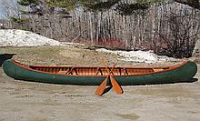 OLD TOWN CANOE - Old Town 17' Canoe, S/N 154974, AA (or top) grade, Otca model with open mahogany gunwales, a keel, and a floor rack