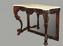 MARBLETOP CONSOLE TABLE - Antebellum American South, in heavily carved rosewood, with serpentine front, high relief floral decoration, having cabriole legs and sinuous side stretchers, mirrored lower backing having ca...
