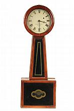 BANJO CLOCK - Howard & Davis of Boston Clock with solid cherry case, tapered throat with eglomise panel, pendulum case with matching detail