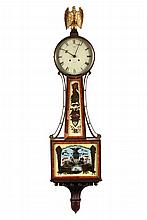 WALTHAM BANJO CLOCK - 2oth c. Banjo Clock with Patriotic Theme, in banded mahogany case, having a gilt metal eagle finial and eglomise panels featuring the American Shield and the battle between the USS Constitution a...