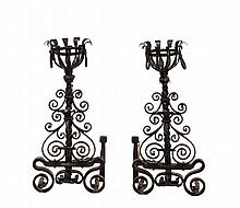 PAIR OF WROUGHT IRON ANDIRONS - 19th c