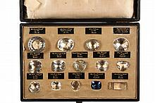 JEWELERS DISPLAY OF HISTORIC DIAMONDS - Circa 1900 Cased Display containing (14) Historic Diamonds in paste, seated in a velvet lined fitted panel having individual gilt labels