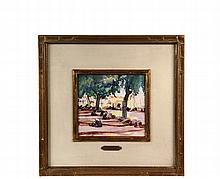 MARTHA WALTER (MA/PA/France, 1875-1976) - French Brittany Waterfront, watercolor on paper, signed lower left, circa 1920, in vintage carved gold shadowbox frame with cream painted mat, gilt liner and name tag