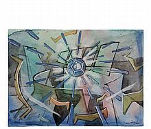 ROBERTO ANTONIO MATTA (NY/IL/Venezuela/Chile/ Italy/France, 1911-2002) - Diamond Burst, watercolor and gouache on paper, signed lower right, unframed, on 9 3/8