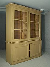 CUPBOARD - Large two part step-back French cupboard w/ 2 glass door top & 2 recessed panel base, original old wavy glass, adjustable shelf interior, molded crown, old pegged construction w/ decorative hinges size: 8'...