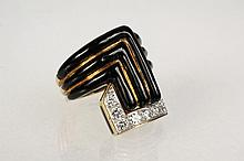 LADY'S RING - Yellow Gold, Diamond & Black Enamel Ring by Webb, set with (9) round diamonds, Size 6, 15.0 dwt tw.