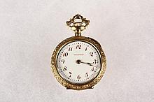 PENDANT WATCH - Rare Art Nouveau Waltham 18K Yellow Gold Pendant Watch with (22) Diamonds, #11000073 Marked