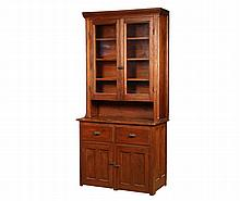 PINE STEPBACK CUPBOARD - 19th c