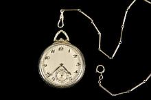 POCKET WATCH - Man's Art Deco Era 14K White Gold Pocket Watch and14K gold chain with silver clip, raised monogram on reverse side