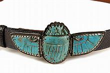 ANCIENT EGYPTIAN SCARAB BELT BUCKLE - Three-Part Aqua Faience Winged Scarab Burial Fetish with modern silver mounts featuring snakes at the top of the wings, the wings are hinged and open backed so you can see the fai...