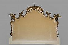 CUSTOM HEADBOARD - Custom King-Size Upholstered Headboard made up from period Chippendale carved giltwood fragments,  The work is in deep relief featuring ornate floral scrollwork and exotic birds in full dimension, t...