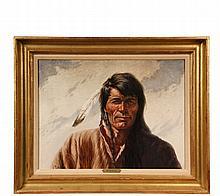 GREGORY PERILLO (NY, 1927 - ) - Native American Portrait, signed lower left