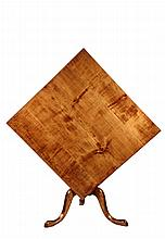 TILT-TOP TABLE - 18th c. American Chippendale Walnut Handkerchief Table with tapered conical column, peaked snake feet, 27