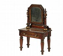 MINIATURE DRESSING TABLE - 19th c Salesman's Sample or Doll House Country Sheraton Style Dressing Table with Mirror, in mahogany with gold and green banding, the tilting clipped corner glass mounted between two turned..