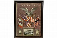 MILITARY NEEDLEWORK - American Memorial Needlework on silk fabric, late 19th c