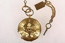 GENT'S POCKET WATCH - 19th c. 18K Yellow Gold Swiss Made Key Wind/Key Set Open Face Pocket Watch with chain and key. 1 3/4