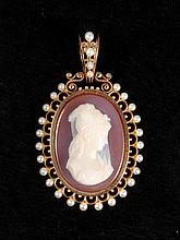 PENDANT - Antique Victorian carnelian hardstone oval portrait Cameo Locket Pendant, in 14K yellow gold frame set with (28) pearls, in original box from Bigelow & Kennard, Boston. 2 3/8