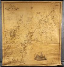 RARE EARLY ENGLISH MAP - Library Map on batten & roller, 'Map of the County of Gloucester from Actual Survey by A. Bryant', published by him in London in 1824, 1