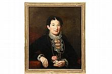 ANTE-BELLUM PORTRAIT - Mid 19th c American Portrait of a Black Haired Woman in black gown with lace collar and cuffs, gold jewelry, she is holding a rose in her left hand