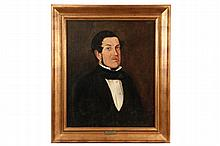 - 19TH C AMERICAN ITINERANT ARTIST - Portrait of a Rugged Sea Farer, New England, circa 1835, in gold frame. OS: 35 1/2