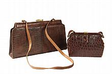 (2) VINTAGE DESIGNER EXOTIC SKIN HANDBAGS - Large Clasp Purse by Palizzio in Crocodile, with gold plated fitting, circa 1960s, 9