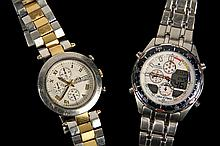 (2) WRISTWATCHES - Group of (2) Men's Wristwatches, including: Klaus Kobec Couture Sports Watch KKG 1913, stainless steel, #87431, quartz movement, water resistant, two tone link band, 1 1/2