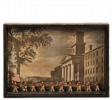 AMHERST COLLEGE SHADOWBOX - Assemblage utilizing a 1960s copy from vintage print of Amherst College in 1826, handcolored, with an anachronistic file of Revolutionary War era painted lead soldiers in the foreground, be...