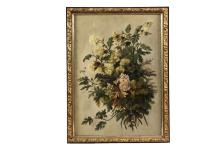 UNSIGNED - Floral Still Life of Cut Pink and Yellow Zinnias on a taupe field, oil on canvas, circa 1900, in original gilt gesso frame with later backing. OS: 27 1/2