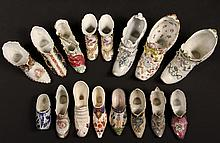(16) PORCELAIN MINIATURE SHOES - All 19th c, including: Large Lady's Shoe, green trim, by Althrohla, Austria, 8