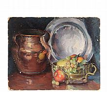 MABEL MAY WOODWARD (RI/ME, 1877-1945) - Still Life with Fruit, Copper Jug and Pewter Plate, oil on upson board, unsigned, loose, unframed, 15 3/4