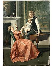 PIERRE LAGRADE (French, 1853-1910) - Young Parents with Child, oil on panel, signed lr, unframed, SS: 13 1/2