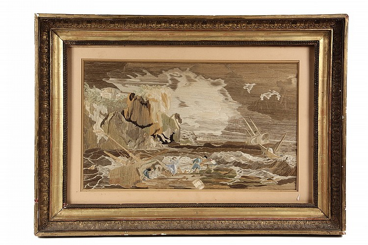 BRITISH STITCHWORK - British Silkwork Depiction of a Shipwreck, early 19th c, housed in the original gilt gesso cove frame, under glass
