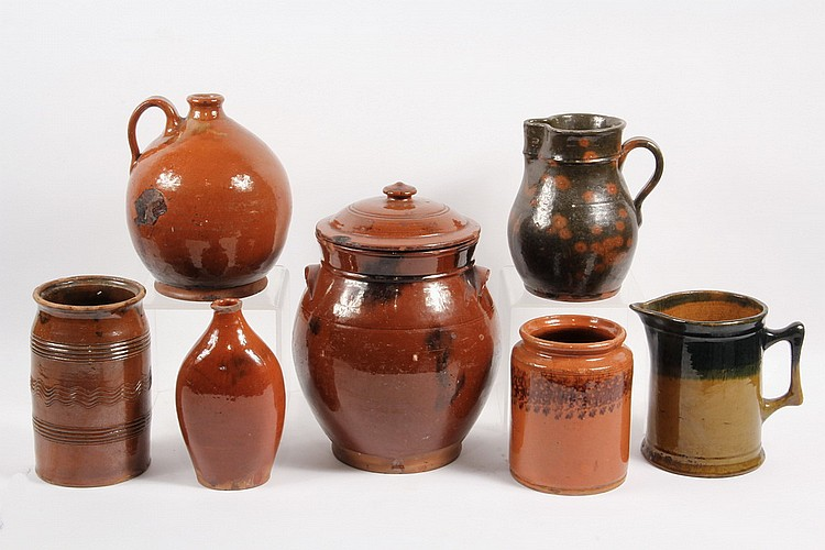 (7 PCS) REDWARE - All 19th c, incl: Covered Jar, 12