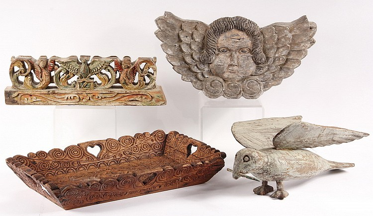 (4) CARVED PCS- Four Spanish Colonial Carved Wood Pcs, incl: Winged Angel Head Plaque, 16