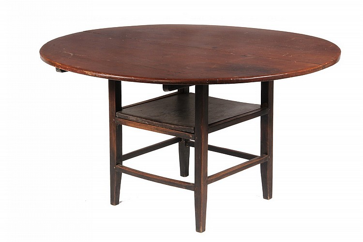 CHAIR TABLE - 19th c. Pine Round Top Chair Table, open mortise and tenon constructed base with simple plank seat, top has traces of old