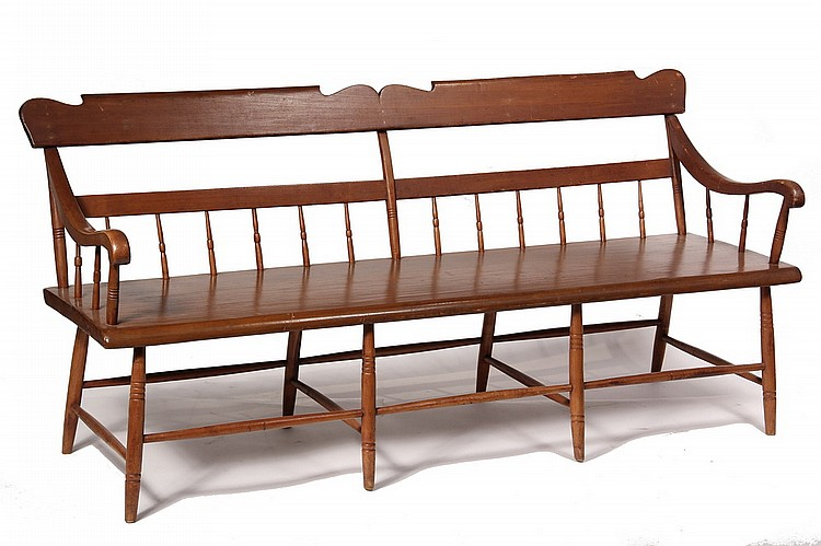 DEACON'S BENCH - 19th c Deacon's Bench with single plank pumpkin pine seat, ring turned spindles with shaped rail, scrolled arms, spi