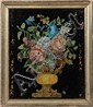 (6) FOIL PAINTINGS - Mid 19th c American Floral Foil or Tinsel Paintings with eglomise glass, in various original frames, ranging in si