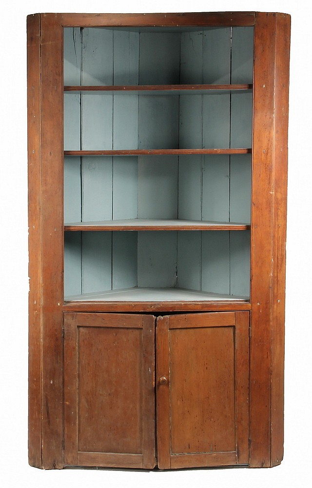 CORNER CUPBOARD - Pne Country Corner Cupboard w/ pale blue painted four-shelf interior, two-panel doors below concealing single shelf,