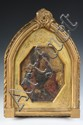 OIL ON STONE - Old Masters Portrait of Female Saint holding lilies, wearing crown, in gilt Italian Gothic arch frame w/ elongated octag