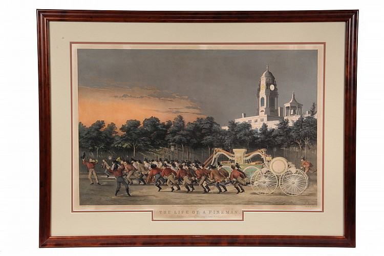 HAND COLORED LITHOGRAPH - 'The Life of a Fireman' by L. Maurer, lithograph by N. Currier, dated 1854, OS: 25 1/2