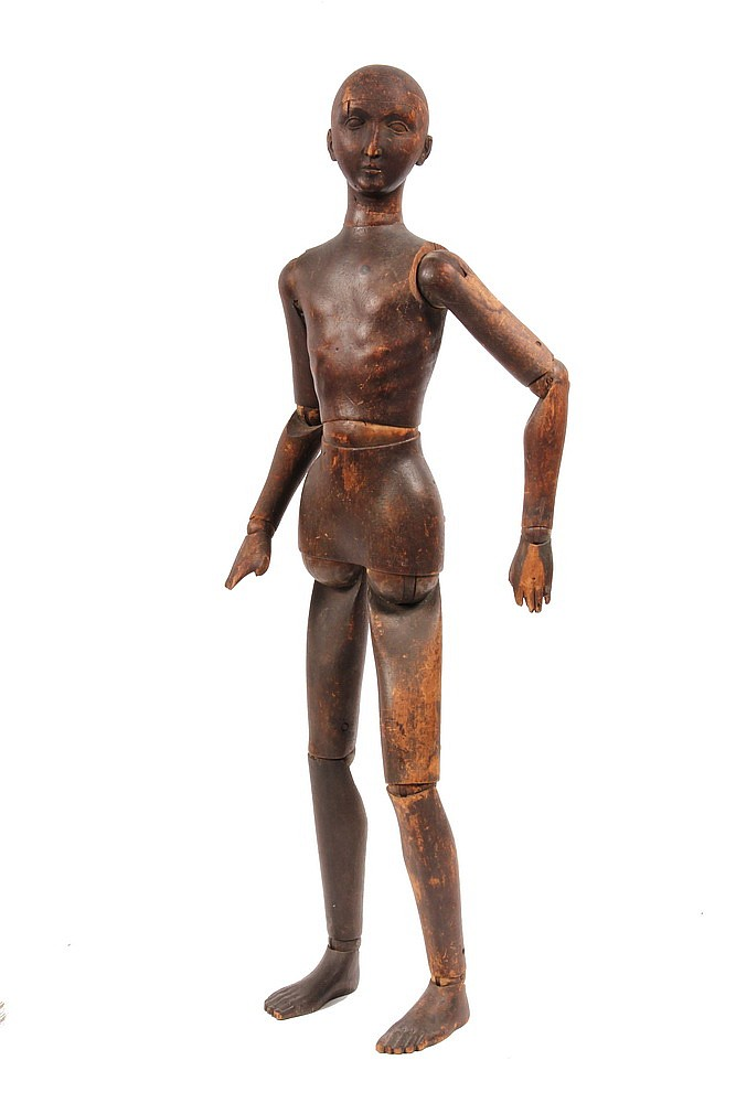 ARTIST'S MANNEQUIN - 19th c Softwood Artist's Mannequin, fully articulated, in remnants of brown casein paint, 29