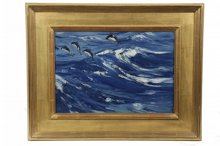 OOCB - 'Dolphins' by Charles Herbert Woodbury (MA/ME, 1864-1940), signed verso, numbered '31', with a price of $300 and having his