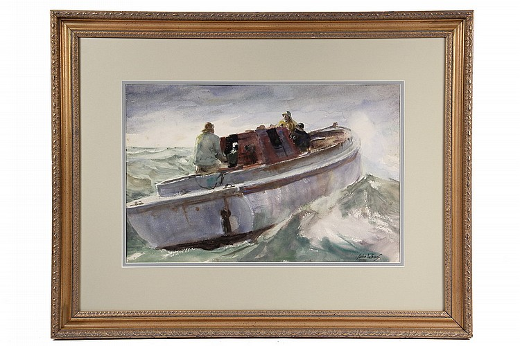 WATERCOLOR - Two Men Set Out in Fishing Boat, High Seas, by John Whorf (MA, 1903-1959), signed lr, in gold molded frame, matted and gla