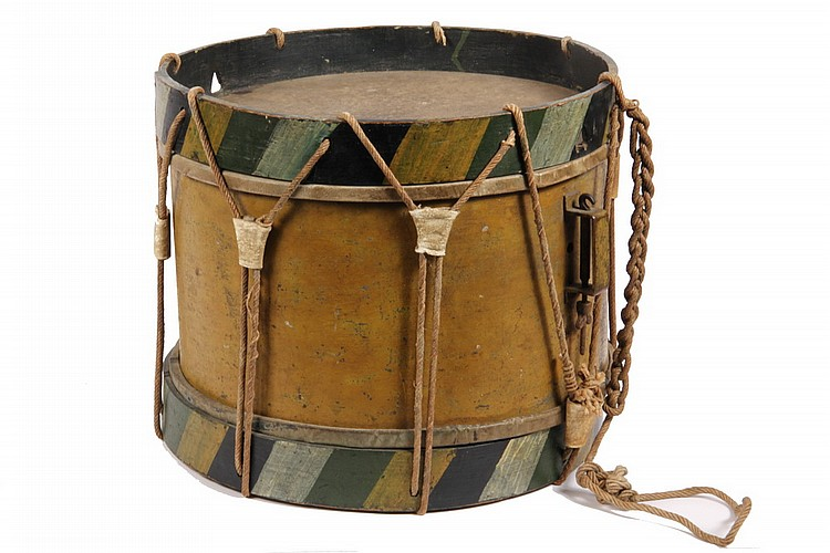 CHILD'S PARADE DRUM - Mid 19th c Child's Painted Tin Parade Drum, probably pre-Civil War, in ochre, white, light and dark green casei