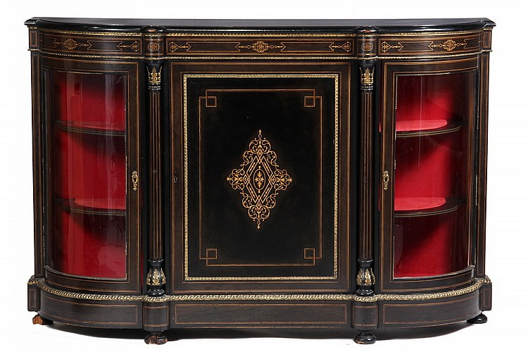 FRENCH CREDENZA - Napoleon III Ebonized Credenza, circa 1870, with bronze trim and boxwood inlay, 41