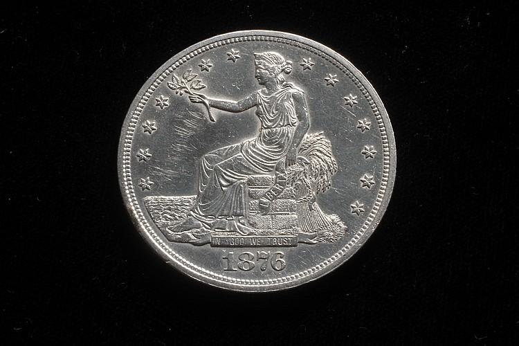 COIN - One Trade Dollar, 1876, proof like razor sharp strike.